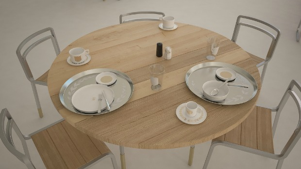 Cafeteria furnishings designed by Debbi and Rosin for the Van Leer Institute.