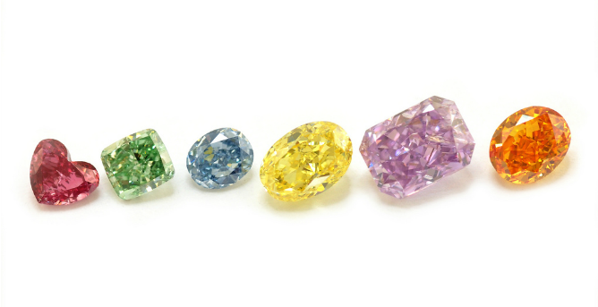 These rare vivid colors result from naturally occurring conditions in diamond mines.