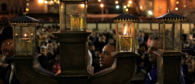 A hannukiyah lights up the cold winter night in Jerusalem. Photo by Flash90.