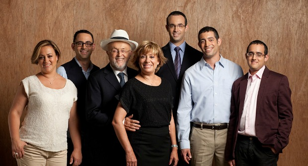 The Polnauer family, from left: jewelry designer Chavi, chief buyer Shmulik, president-founder Leibish, shows and travel coordinator Rosalind, CEO Yossi, ecommerce manager Itzik and project manager Yoni.