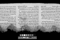 Spectral image of Psalms scroll, revealing some of the letters for the first time. (Photo: Yair Medina and Shai Halevi, courtesy of the IAA)
