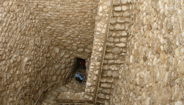 Entrance to biblical water system unearthed in Tel Sheva. Photo courtesy of Israel Tourism Ministry