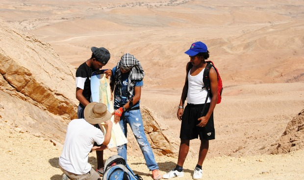 Tikun Olam students on a trip in the Eilat mountains.