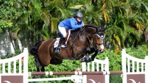 A vision in blue and white: Danielle Goldstein and her horse.