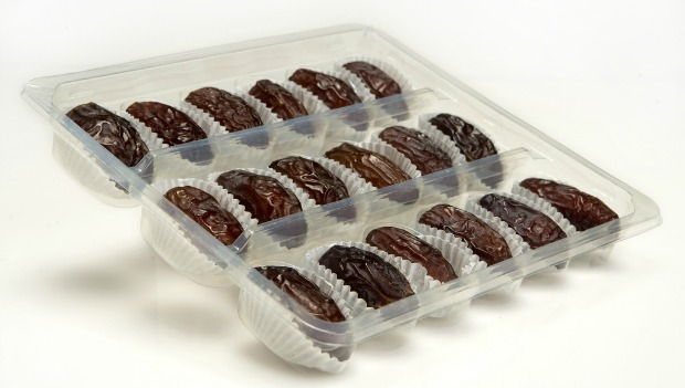 Medjoul dates, premium packaged like fine chocolates. Photo courtesy of Hadiklaim Israeli Date Growers Cooperative