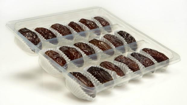 Medjoul dates, premium packaged like fine chocolates. Photo courtesy of Hadiklaim Israeli Date Growers Cooperative
