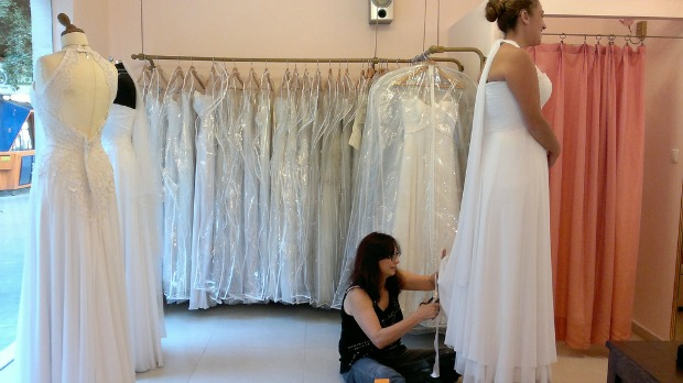 A bride gets fitted inside one of Dizengoff's many bridal salons.