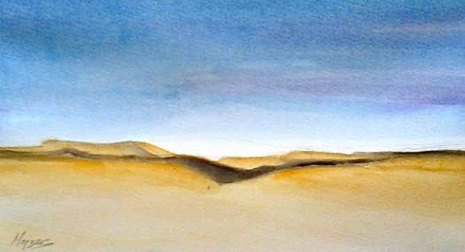 "Igor Mojzes' watercolor ""Negev."""