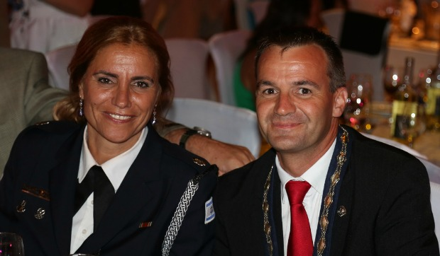 Sharon with International Police Association President Pierre-Martin Moulin at the Eilat convention.