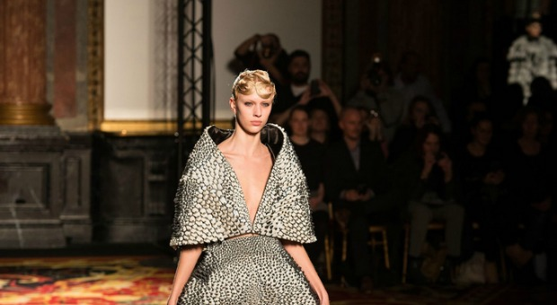 """This """"tech couture"""" dress was printed out on an Israeli-made 3D printer."""