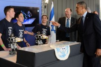 US President Barack Obama meets Israel's technology leaders of tomorrow. (Kobi Gideon/GPO)
