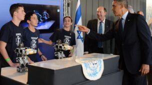 US President Barack Obama meets Israel's technology leaders of tomorrow. (Kobi Gideon/GPO)