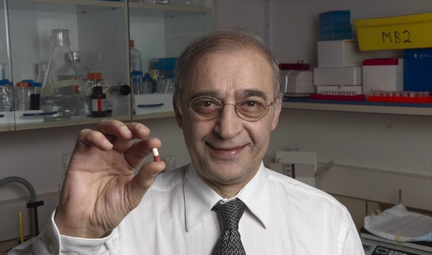 Technion Prof. Moussa Youdim with Azilect, the drug he helped develop for Parkinson's symptoms.