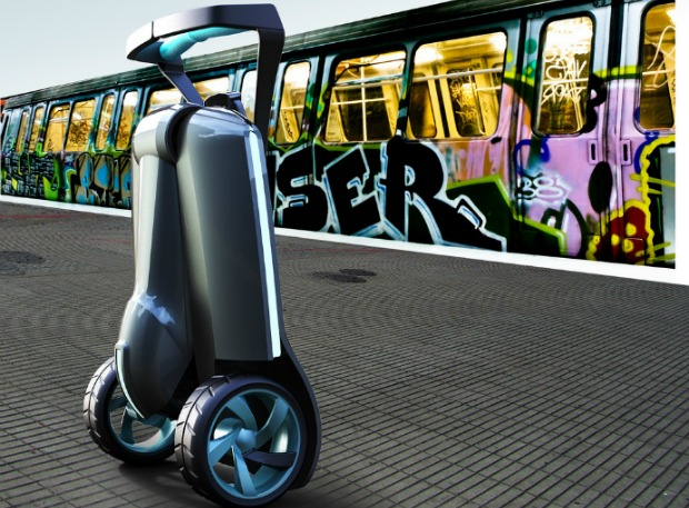 When folded, the scooter looks like a suitcase on wheels.