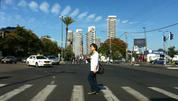 """""""Cloud Puffs over Tel Aviv Crosswalk"""" by Rachel Neiman"""