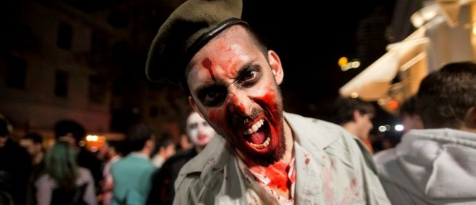 Zombie heaven – Tel Aviv turns ghoulish on the annual Zombie walk. Photo by Flash90.