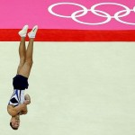 Alexander Shatilov competes on the floor in the Artistic Gymnastics Men's Floor Exercise final at the London 2012 Olympic Games.