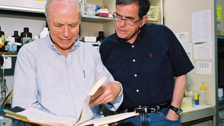 Professor Avraham Hershko (left) and Prof. Aharon Ciechanover in the lab.