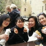 IIP students Shih-Why Lin, Meiling Liu,Myrna Handoko and Tar Naruporn Ananpongsuk having a taste of shwarma and falafel during their trip to Israel.
