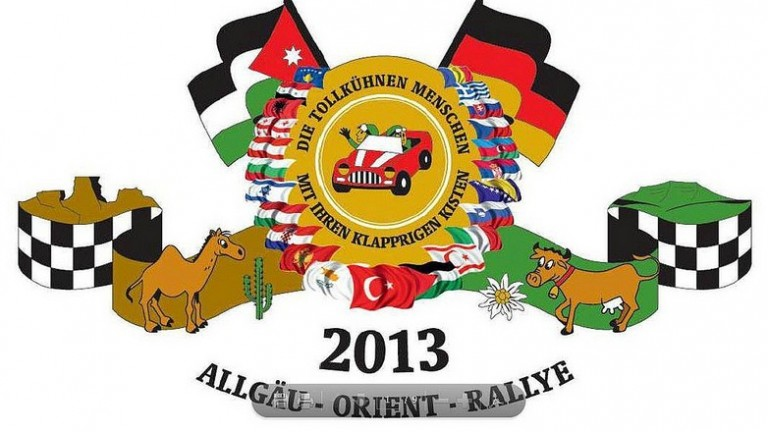The Israeli flag has been added to the 2013 logo of the Allgäu Orient Rally -- a low-budget, community-minded cross-country rally that is passing through Israel for the first time in its eight-year history.