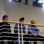 Guy Oseary, Ashton Kutcher and Yossi Vardi address GarageGeeks Israel. (Photo: David Brinn)