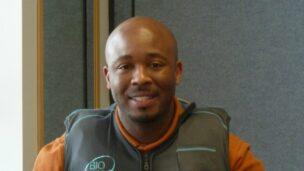 An occupational therapist at University of North Carolina hospital wearing a BioHug vest.