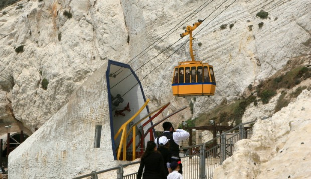 The cable car at Rosh Hanikra travels at an angle of 60 degrees. Photo by Flash90