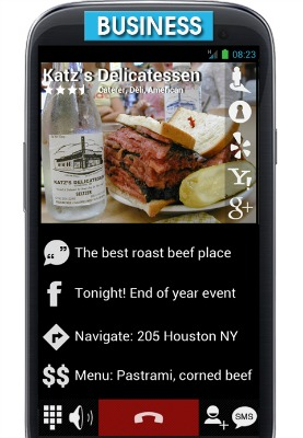 If you order deli from an unknown address, CallApp provides you with a Google map, clickable coupons and a menu, and even a taxi to get there.