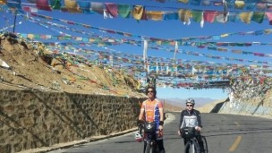 Daniel Moores and Abraham Cohen took on the highest road in the world to raise funds for Nepali communities. (Photo from the Everest Cycling Marathon indiegogo page.)