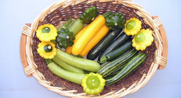 Goldy zucchini are in the middle of this basket of squash. Photo by Harry Paris