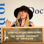 Barbra Streisand delivers her acceptance speech after receiving an honorary doctorate from the Hebrew University of Jerusalem. (Credit: Alexi Rosenfeld, AJR Photography)