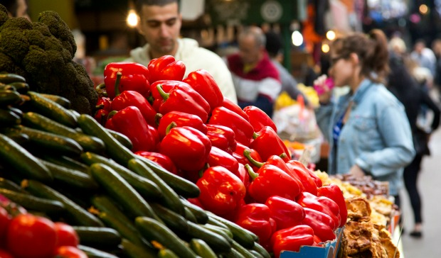 Vegetables for sale at the Carmel Market in Tel Aviv. Photo by Moshe Shai/FLASH90