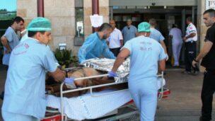 A Syrian war victim arriving at Ziv Medical Center.