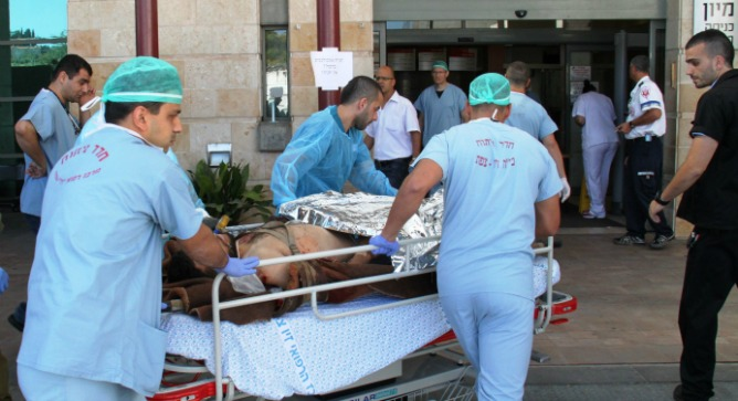 A Syrian war victim arriving at Ziv Medical Center.