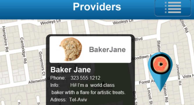 The app gives you a map of goods and services providers in your area.