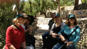 From left at Sataf park and historical site, Ruth Weisberg, Ellen Lee, Gayle Garner Roski, Sataf guide, Karine Bolton Laor of the Jewish National Fund and Jan Handtmann.