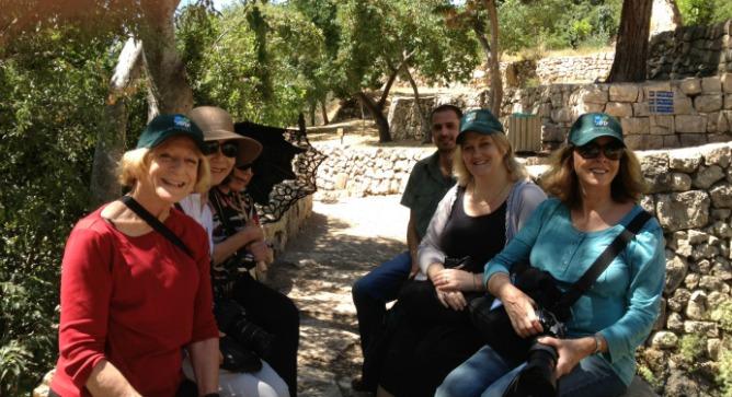 From left at Sataf park and historical site, Ruth Weisberg, Ellen Lee, Gayle Garner Roski, Sataf guide, Karine Bolton Laor of the Jewish National Fund and Jan Handtmann.