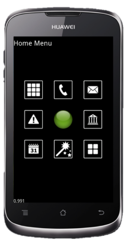 The RAY smartphone has a flat touch screen.