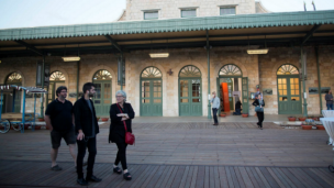 Visitors take a look around the First Station in Jerusalem. Photo by Flash90.