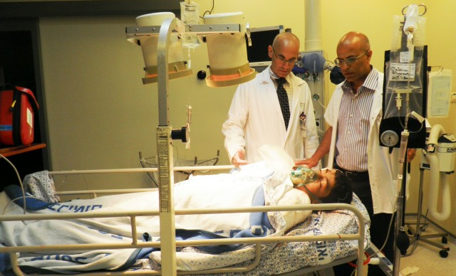 A 15-year-old Syrian patient being treated at Ziv Medical Center. Photo by Chana Bikel/Ziv Medical Center.
