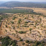 An aerial view of the Khirbet Qeiyafa archaeological site.  (Sky View, courtesy of the Hebrew University and the Israel Antiquities Authority)