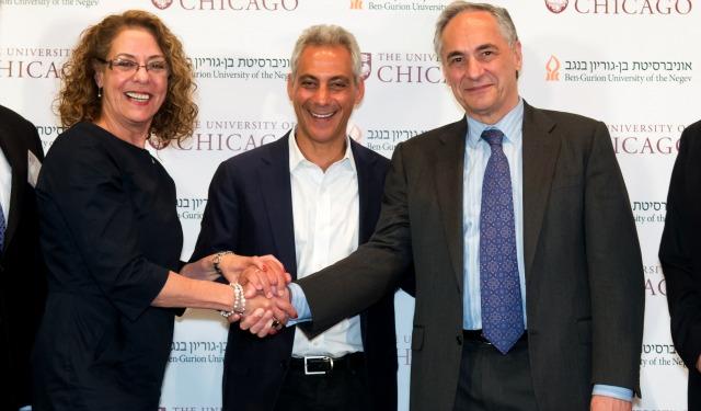 Carmi, Zimmer and Emanuel at a Jerusalem press conference announcing the research partnership. Photo by Dani Machlis/BGU