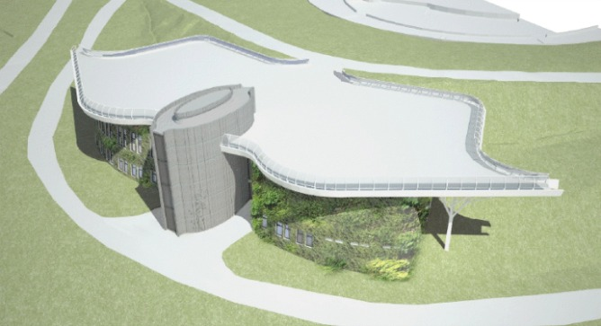 The planned new building for the International Center for the Study of Bird Migration in Latrun.