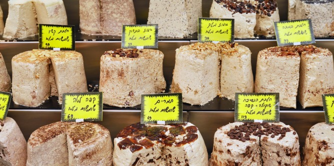 Rows of halvah on market stand in Israel. Image via Shutterstock.com