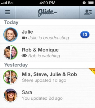 A Glide Talk chat list.