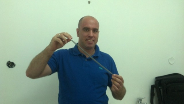 Idan Tobis with the revolutionary ligament implant.