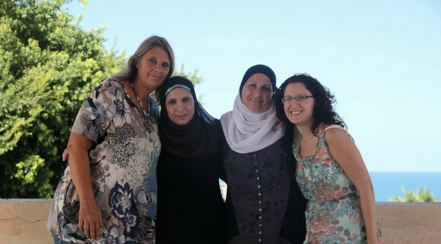 From left, Jaffadolls designer Rosanna Alon, seamstresses Sahar Nabulsi and Elham Huni and Yifat Kedmi, project manager.