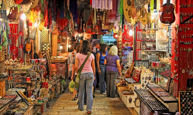 The oriental market in Old Jerusalem offers a variety of Middle Eastern products and souvenirs. Image via Shutterstock.com