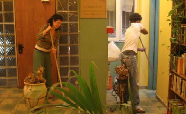 Everybody pitches in at Shanti House.
