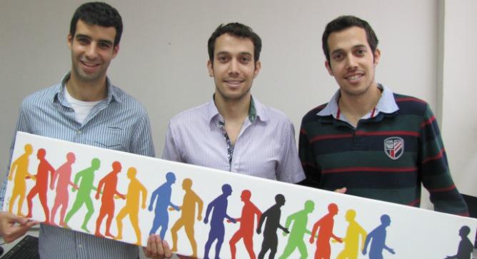 Tomigo's management team includes Tal Moran, right; his twin Nimrod, center; and Lior Atias.